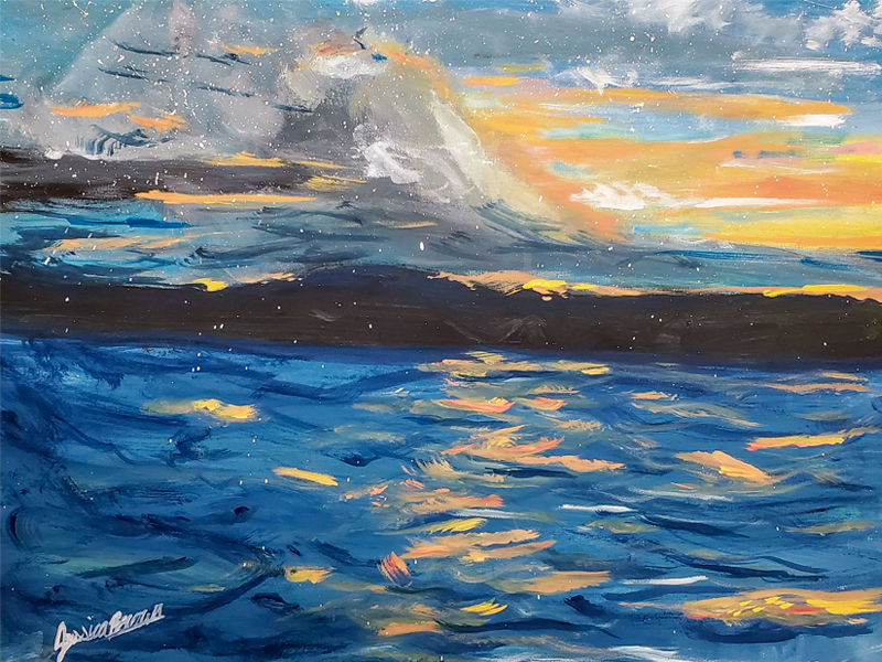 The Magic of a Sunset - Acrylic Painting on canvas by Jessica Brown Art and Fashions.