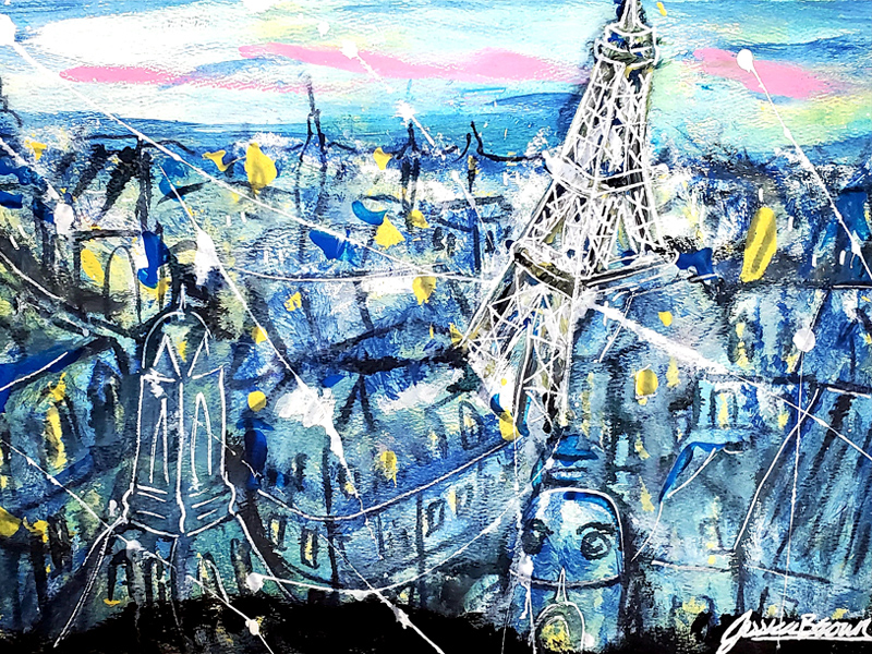 Starry Night in Paris - Acrylic Painting on art paper by Jessica Brown Art and Fashions.