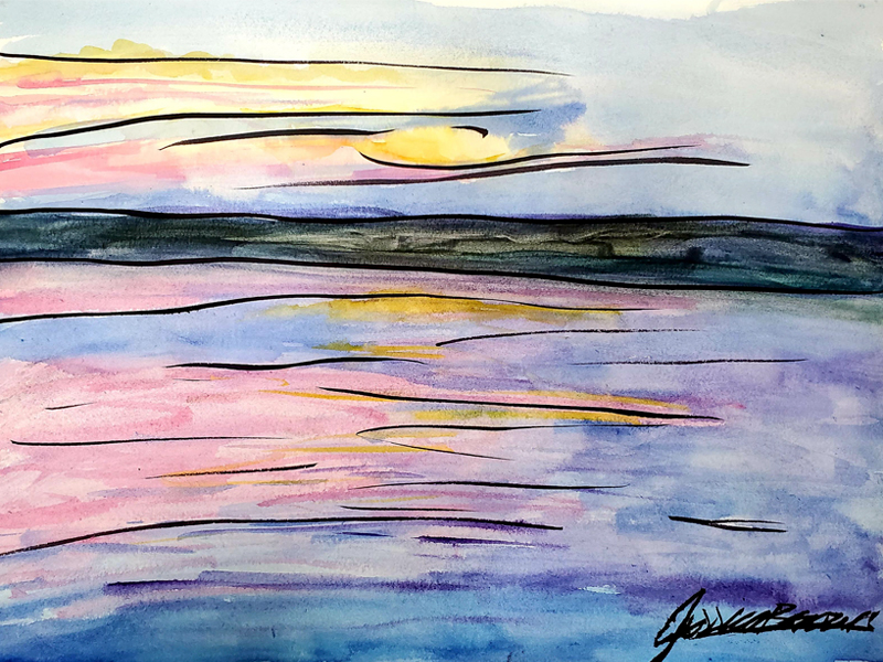 When a Sunset looks Like this - Watercolour Painting on Art Paper by Jessica Brown Art and Fashions.
