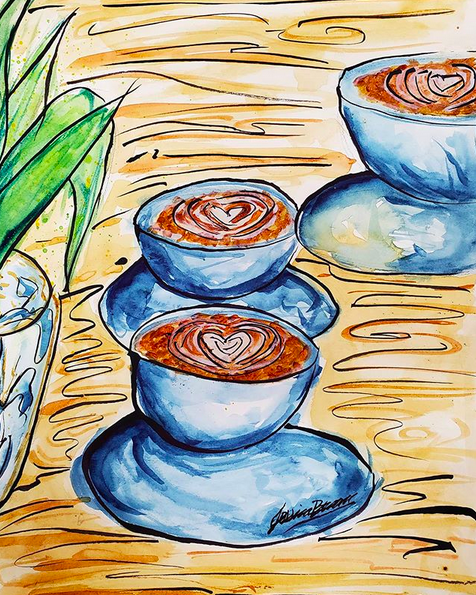 A Little More Coffee - Watercolour Painting on Art Paper by Jessica Brown Art and Fashions.