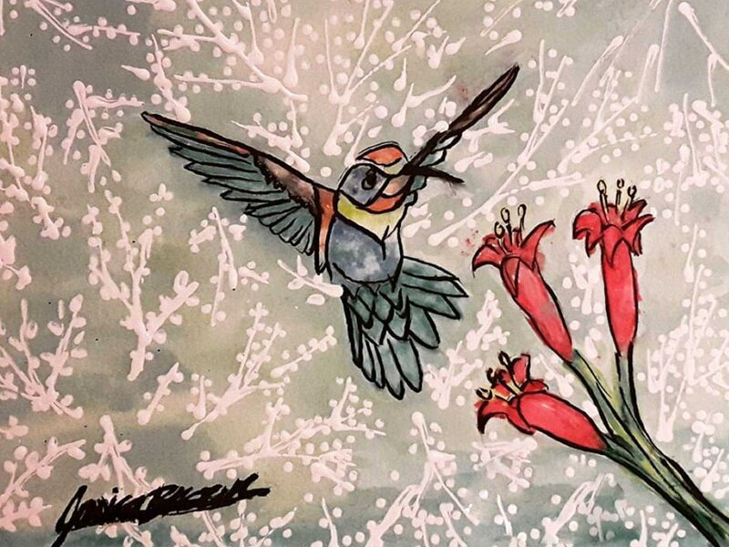Humming Bird in Flight - Watercolour Painting on Art Paper by Jessica Brown Art and Fashions.