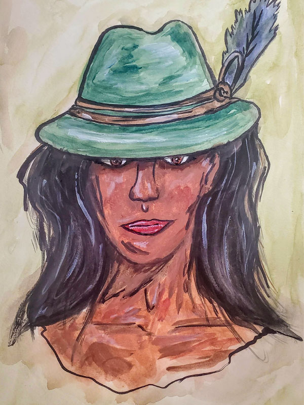Call Me Robyn - Watercolour Painting on Art Paper by Jessica Brown Art and Fashions.