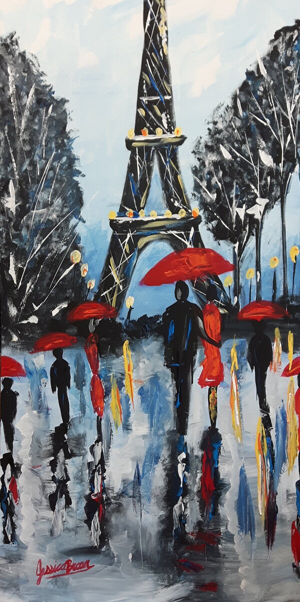 Paris - Acrylic Painting on Canvas by Jessica Brown Art and Fashions.