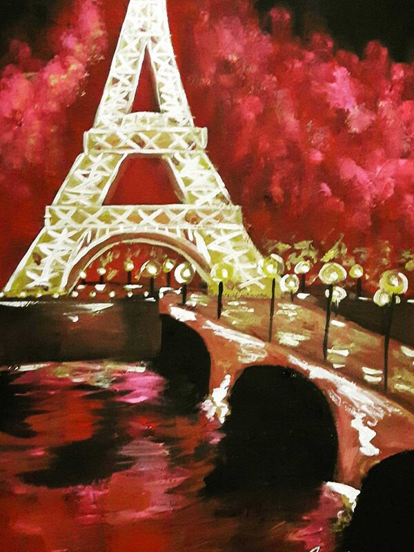 Paris at Night - Acrylic Painting on Canvas by Jessica Brown Art and Fashions.