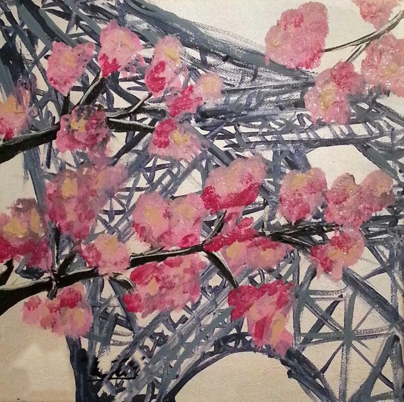 Paris in Spring - Acrylic Painting on Canvas by Jessica Brown Art and Fashions.