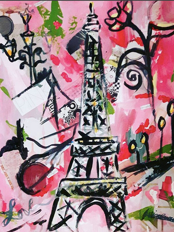 Pink and Fabulous - Acrylic Painting on Canvas by Jessica Brown Art and Fashions.