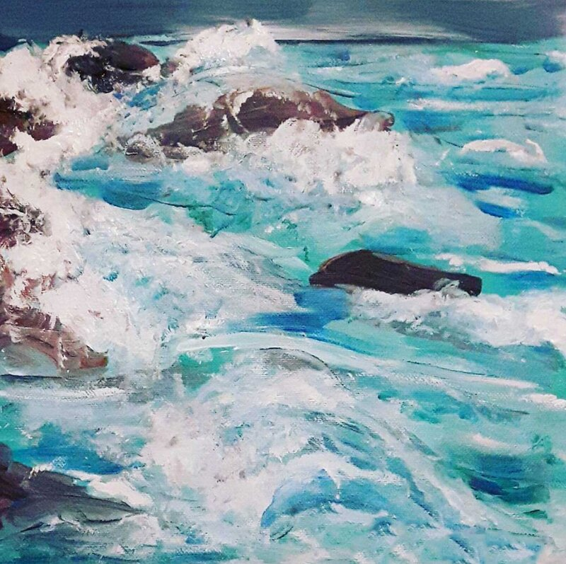 The Aqua Coloured Sea - Acrylic Painting on Canvas by Jessica Brown Art and Fashions.