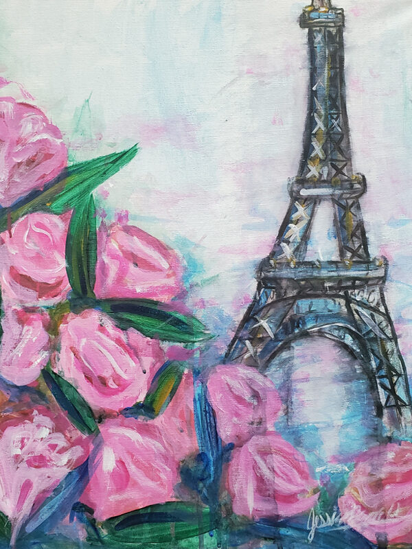 Paris Painting - done in acrylic paint on canvas by Jessica Brown Visual Arts.