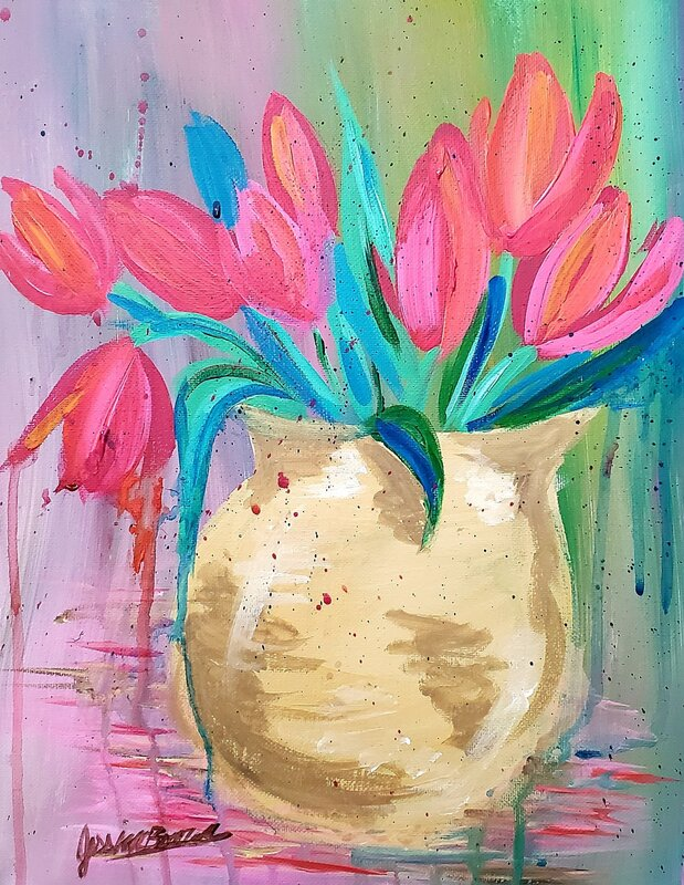 Acrylic Paintings - The Beauty of a Flower, Tulip canvas artwork by Jessica Brown Visual Arts.