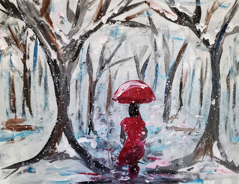 Acrylic Paintings - A Winters Stroll in the Forest by Jessica Visual Arts in Hamilton, Ontario.